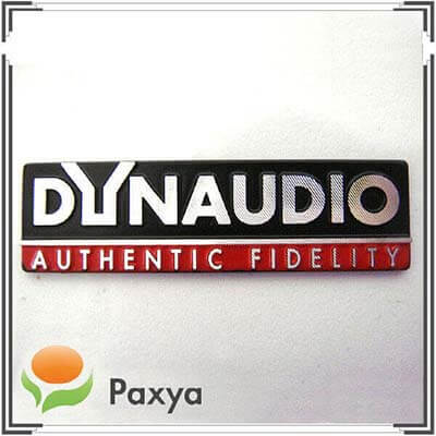Dynaudio – metal nameplate for car audio